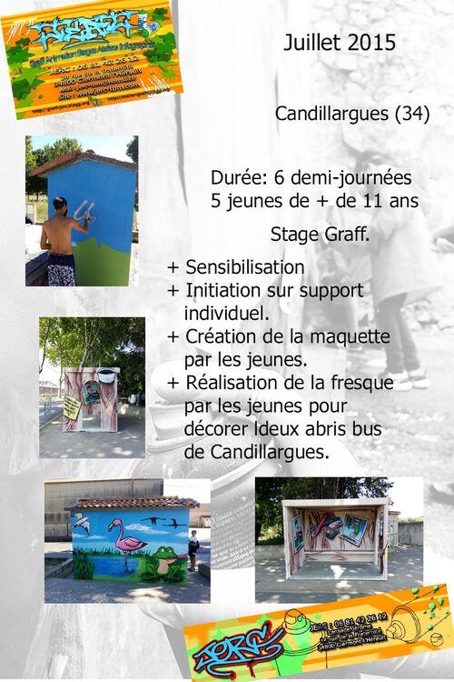 stage graff à Candillargues (34) en juillet 2015 décoration avec les jeunes de la salle des jeunes de deux abribus de la commune. http://atelier-graff.blogg.org/ http://www.jerc-tbm.com/crbst_5.html