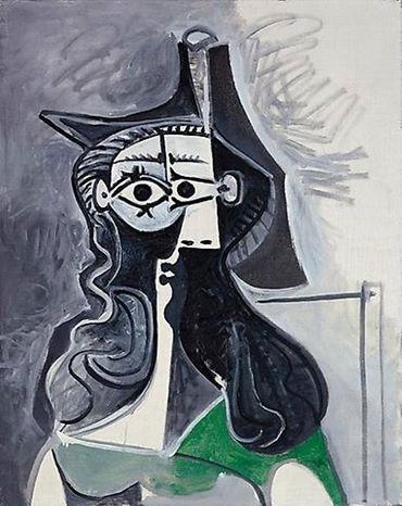 Portrait de femme assise à la robe verte - Pablo Picasso 1961