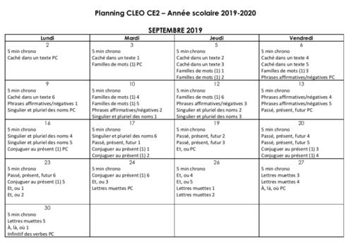 Programmation Français CLEO CE2 - année scolaire 2019-2020