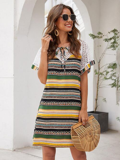 shestar wholesale lace sleeve printed striped dress