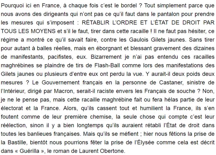 France : Un mouvement extrémiste appelle à tirer sur les Algériens