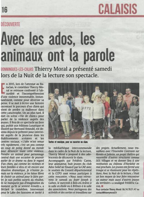 Vie de chien - la nuit de la lecture - Bonningues les Calais