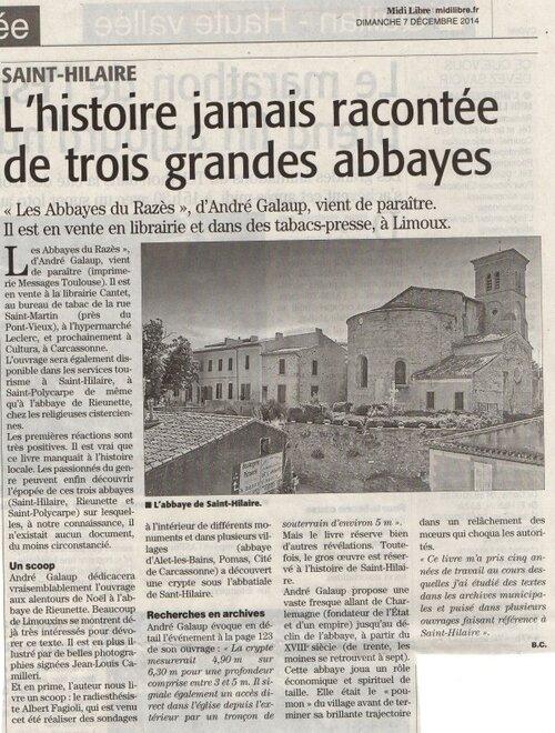 """Le dernier livre de Mr André Galaup, """" Les Abbayes du Razès """", Le Midi-Libre/ L'Indépendant du dimanche 07 décembre 2014.(Bruno Coince)"""