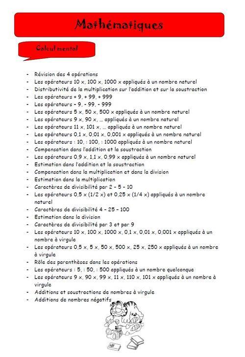 Plan des matières de mathématiques pour la 6ème