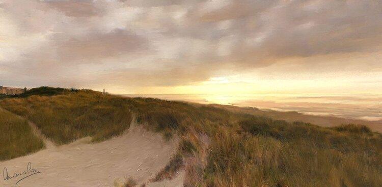 Coucher de soleil sur les dunes de Bredene en Belgique