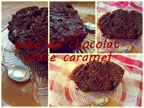 Cake au chocolat sauce caramel
