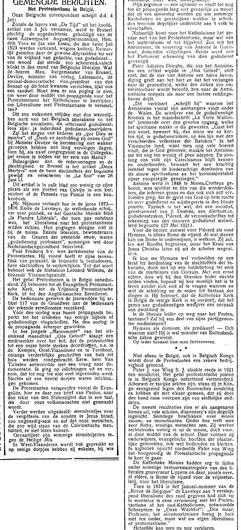 Het Protestantisme in België (De Tijd, 6 Juli 1923)