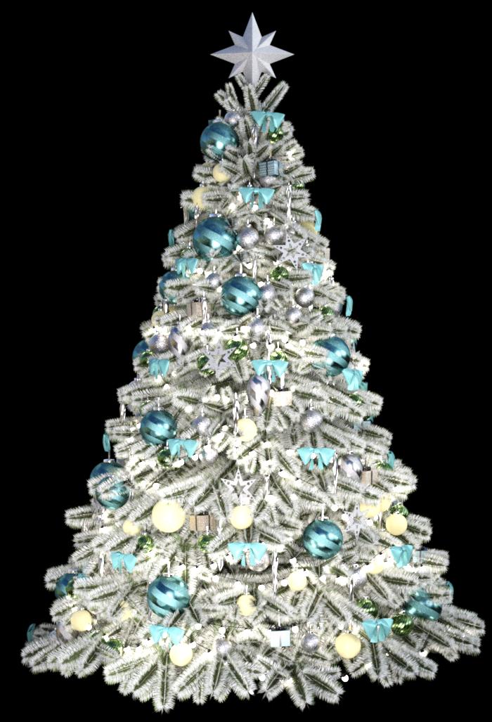 Tube de sapin de Noël bleu (render image)   Kordouane3D Design