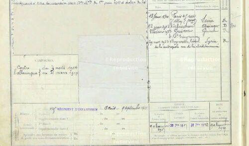 Registre militaire G Bounoure