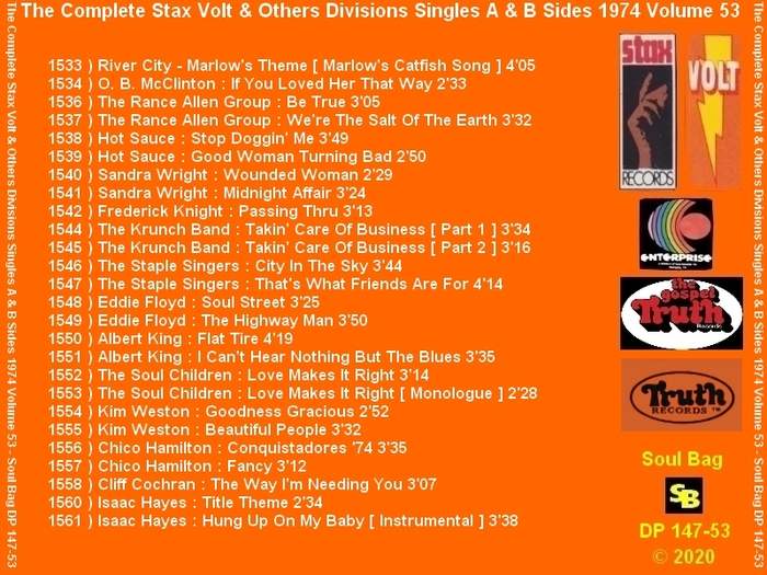 """ The Complete Stax-Volt Singles A & B Sides Vol. 53 Stax & Volt Records & Others Divisions "" SB Records DP 147-53 [ FR ]"