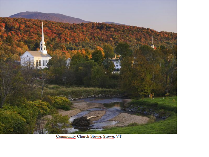27 ter- Community Church Stowe, Stowe, VT (27e de la série des 50 belles églises dans le monde)