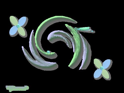 Libellule et fleurs