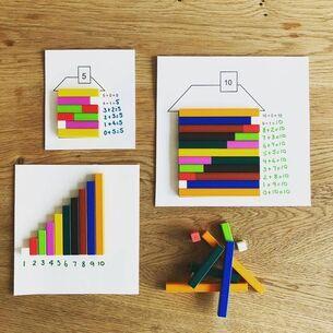 Des idées Pinterest pour travailler les décompositions des nombres jusque 10.