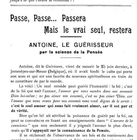 Antoine le Guérisseur (Le Nouvel éducateur rationnel-année 1-n°7- 1912)