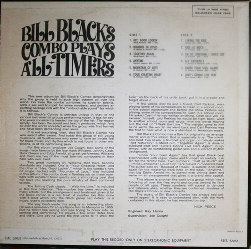 "Bill Black's Combo : Album "" Plays All-Timers "" Hi Records SHL 32032 [ US ]"