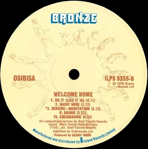 "1975 : Album "" Welcome Home "" Bronze Records ILPS 9355 [ UK ]"