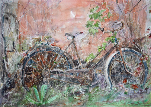 A bicyclette...