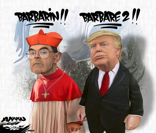 dessin de JERC et d'AKAKU du lundi 14 janvier 2019 caricature Monseigneur Barbarin et Donald Trump Voici venir les Barbares à papa www.facebook.com/jercdessin