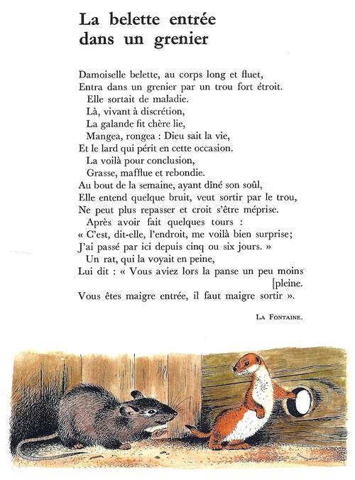 LA BELETTE ENTRÉE DANS UN GRENIER (La Fontaine)