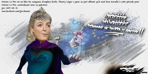 dessin de JERC mardi 21 février 2017 caricature Marine Le Pen gate Madame montretout a piquer des sous à Bruxelles pour se servir dans la caisse www.facebook.com/jercdessin en plus grand en cliquant d