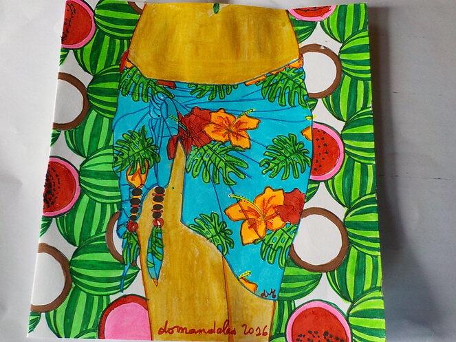 DOMANDALAS dessin aux feutres paréo, pastèques et noix de coco