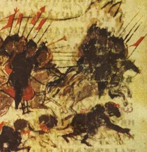 Les Arabes attaquent Constantinople sous le règne de l'empereur Léon III, Le second siège arabe de Constantinople, Chronique de Constantine Manasses, XIVe siècle.