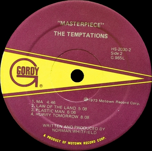"The Temptations : Album "" Masterpiece "" Gordy Records G-965L [ US ]"