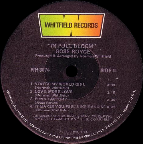 "Rose Royce : Album "" II In Full Bloom "" Whitfield Records WH 3074 [ US ]"