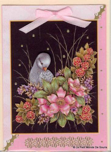 carte 3d pigeon et fleurs