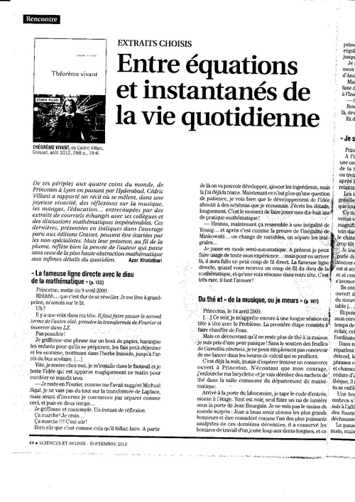 Eric VILLANI article Science et Avenir septembre 2012