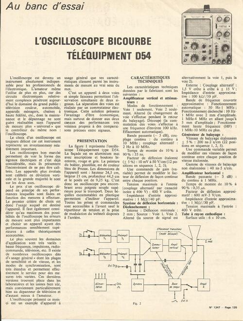 "Oscilloscope ""Telequipement D-54 """
