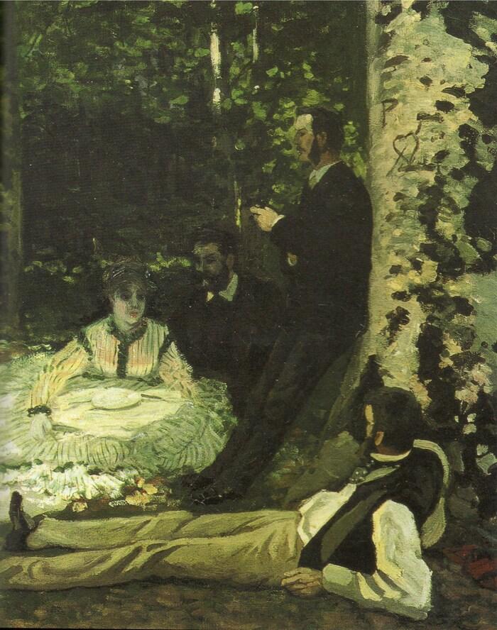 Monet 5 / 1866 :le déjeuner sur l'herbe (hommage à Manet)
