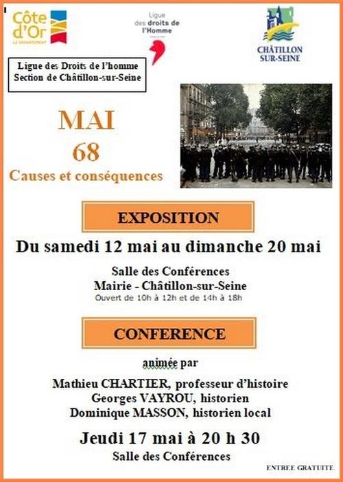 La Ligue des Droits de l'Homme Châtillonnaise se souvient de mai 1968 et s'interroge sur ses causes et ses conséquences.