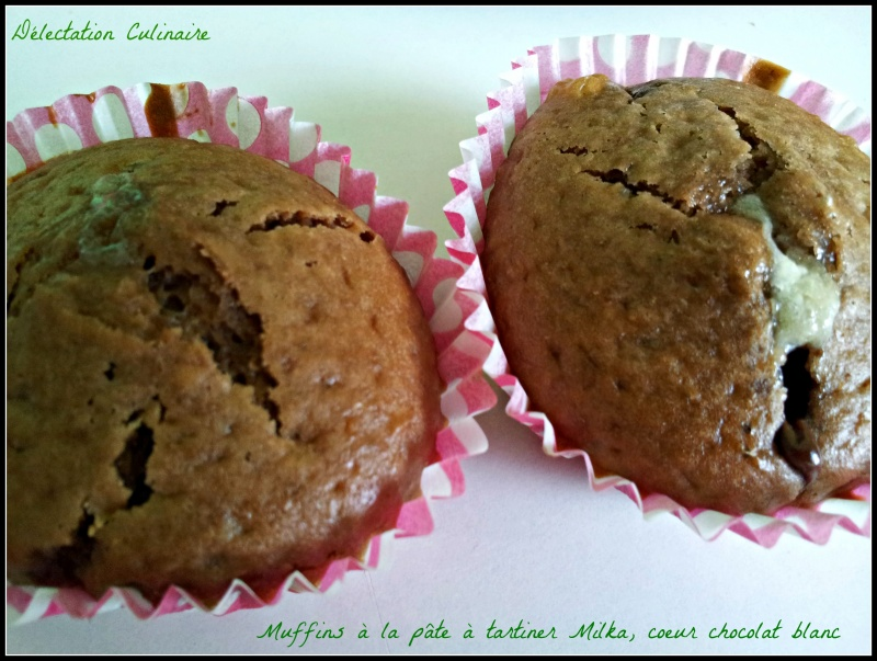 Muffins à la pâte à tartiner Milka et coeur chocolat blanc
