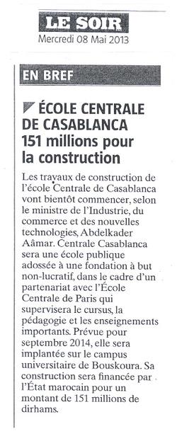 ECOLE CENTRALE DE CASABLANCA : pour un montant de 151 millions