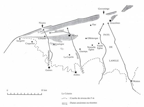 Carte du Calaisis sous la domination anglaise