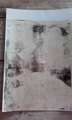 Transfert sur gell press, avec des peintures  acryliques