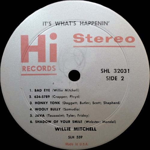 "1966 : Willie Mitchell : Album "" It's What's Happenin' "" HI Records HL 12031 [US]"