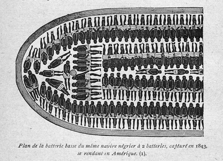 Plan de la batterie basse du même navire négrier à 2 batteries, capturé en 1843, se rendant en Amérique.(I).