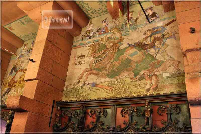 Haut Koenigsbourg Salle du Kaiser fresques murales joutes
