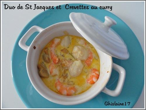 Duo de St Jacques et Crevettes au curry