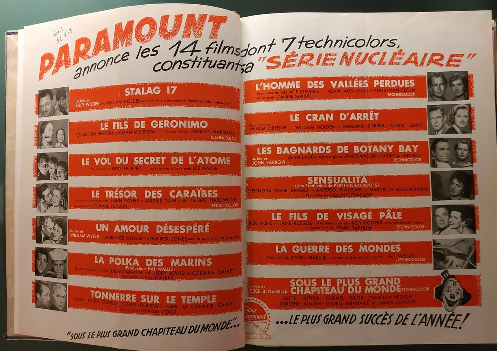 BOX OFFICE PARIS DU 17 AVRIL 1953 AU 23 AVRIL 1953