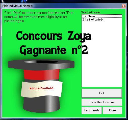 Gagnantes concours zoya