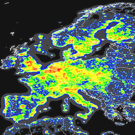 La pollution lumineuse en Europe. © ISTIL