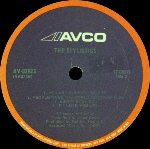 "1971 : Album "" The Stylistics "" Avco Records AV-33023 [ US ]"