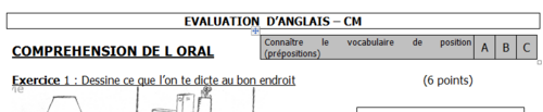 evaluation  vocabulaire de position