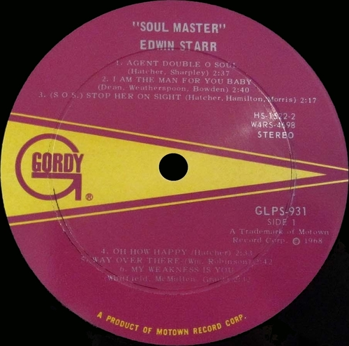 "Edwin Starr : Album "" Soul Master "" Gordy Records GS 931 [ US ]"