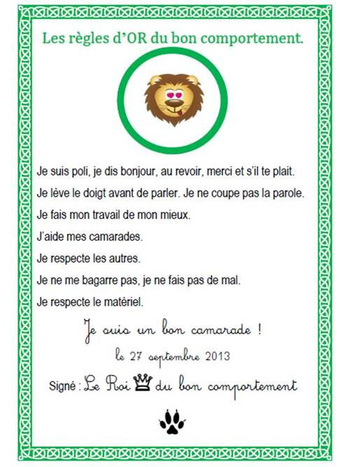 Contrat du Lion du bon comportement