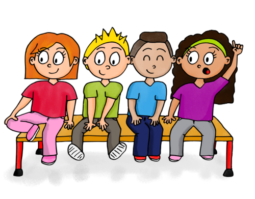 Dessin - Enfants assis sur un banc !