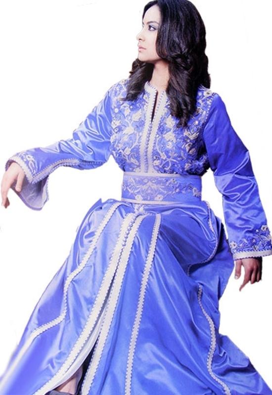 Kaftan marocain de haute couture, coftan pour mariage marocain bdroderie et perle KAF-S809